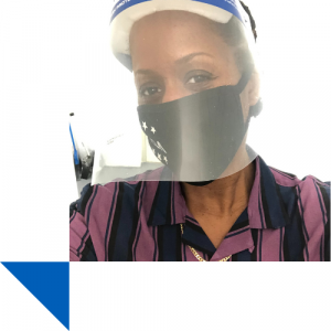 Dorothy Williams with face shield
